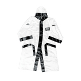 100% Poly Satin Full Length Boxing Robe with Hood (White/Black)