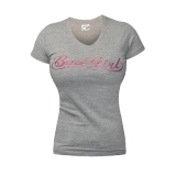 Badgirl V-Neck Tee (Grey/Pink) (discontinued)